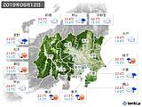 2019年06月12日の関東・甲信地方の実況天気