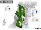 2019年06月22日の山形県の実況天気