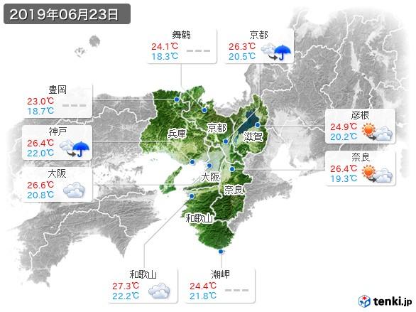 近畿地方(2019年06月23日の天気