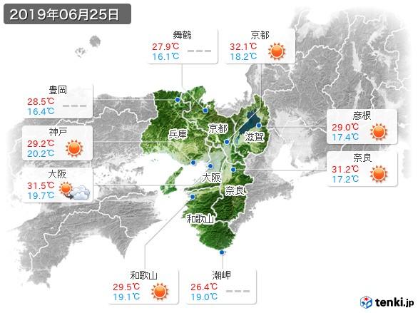 近畿地方(2019年06月25日の天気