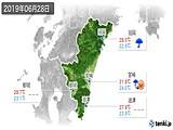 2019年06月28日の宮崎県の実況天気