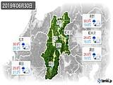 2019年06月30日の長野県の実況天気