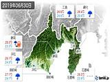 2019年06月30日の静岡県の実況天気