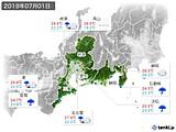 2019年07月01日の東海地方の実況天気