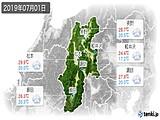 2019年07月01日の長野県の実況天気