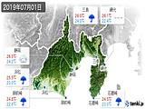 2019年07月01日の静岡県の実況天気