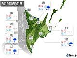 2019年07月01日の道東の実況天気