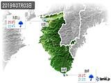2019年07月03日の和歌山県の実況天気