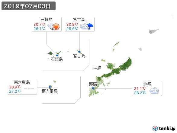 沖縄地方(2019年07月03日の天気