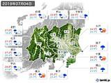 2019年07月04日の関東・甲信地方の実況天気