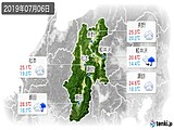 2019年07月06日の長野県の実況天気