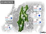 2019年07月07日の長野県の実況天気