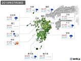 2019年07月08日の九州地方の実況天気