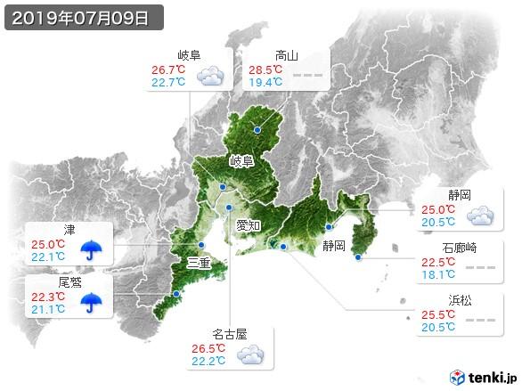 東海地方(2019年07月09日の天気