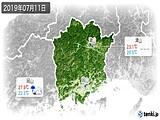 2019年07月11日の岡山県の実況天気