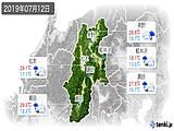 2019年07月12日の長野県の実況天気