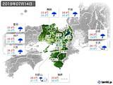 2019年07月14日の近畿地方の実況天気