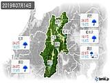 2019年07月14日の長野県の実況天気