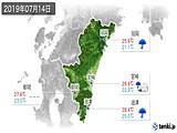 2019年07月14日の宮崎県の実況天気