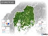 2019年07月16日の広島県の実況天気