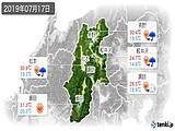 2019年07月17日の長野県の実況天気