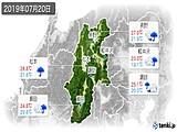 2019年07月20日の長野県の実況天気