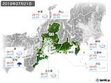 2019年07月21日の東海地方の実況天気