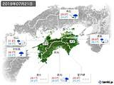 2019年07月21日の四国地方の実況天気