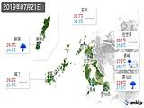 2019年07月21日の長崎県の実況天気