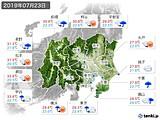 2019年07月23日の関東・甲信地方の実況天気