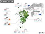 2019年07月23日の九州地方の実況天気