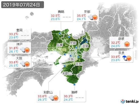 近畿地方(2019年07月24日の天気