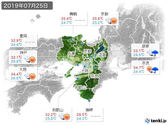 近畿地方(2019年07月25日の天気