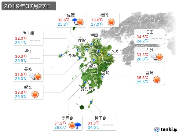 九州地方(2019年07月27日の天気