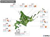 2019年07月28日の北海道地方の実況天気
