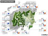 2019年07月28日の関東・甲信地方の実況天気