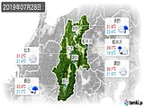 2019年07月28日の長野県の実況天気