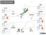 2019年07月28日の沖縄県の実況天気