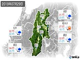 2019年07月29日の長野県の実況天気