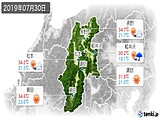 2019年07月30日の長野県の実況天気
