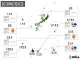 2019年07月31日の沖縄県の実況天気
