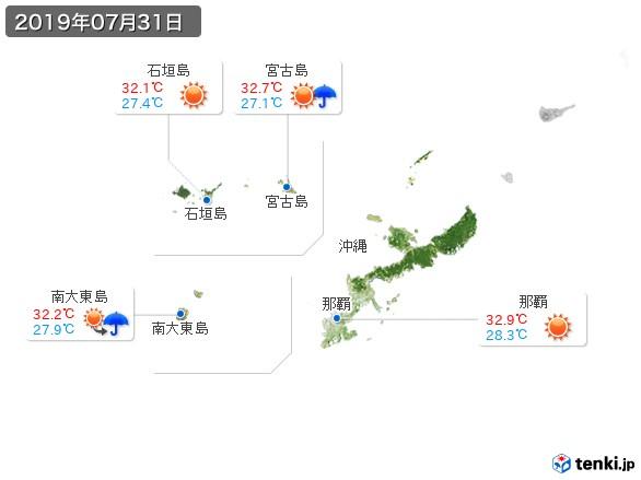 沖縄地方(2019年07月31日の天気