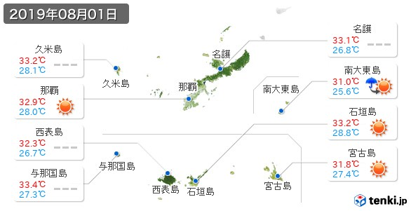沖縄県(2019年08月01日の天気