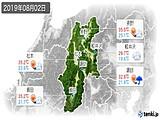 2019年08月02日の長野県の実況天気