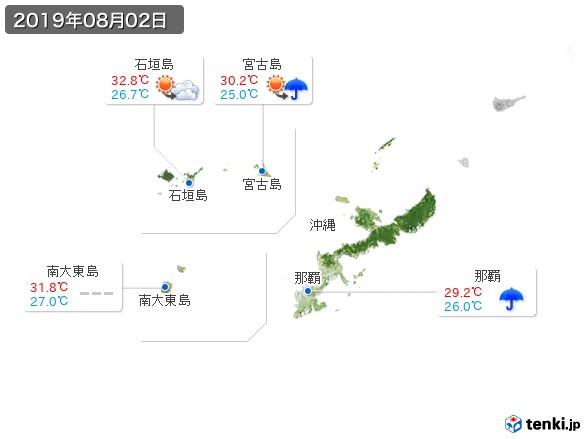 沖縄地方(2019年08月02日の天気