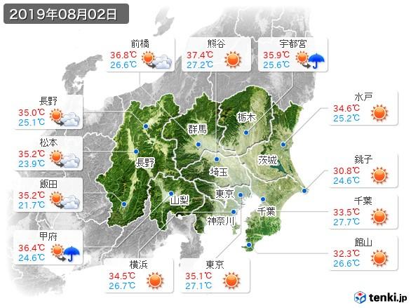 関東・甲信地方(2019年08月02日の天気