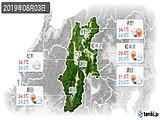 2019年08月03日の長野県の実況天気