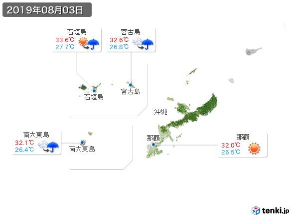 沖縄地方(2019年08月03日の天気