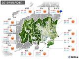 2019年08月04日の関東・甲信地方の実況天気