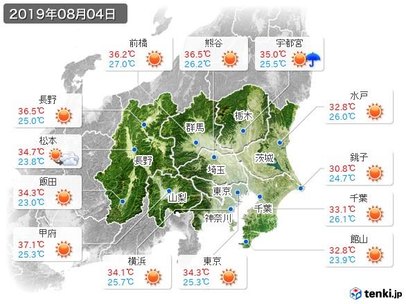 関東・甲信地方(2019年08月04日の天気